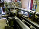 Turning a steam locomotive piston rod in one of our centre lathes.